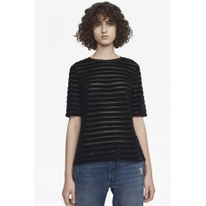 French Connection Bernice Velvet Stripe S/S Roundneck Black
