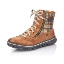 Rieker Lace up Brown Check Boot