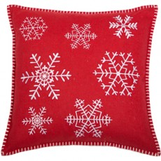 White Snowflake Embroidery on Red Cushion 45 X 45