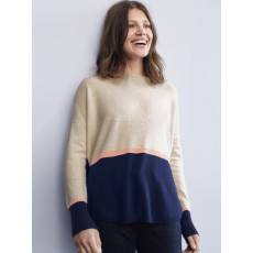 WhiteStuff Jennie Cashmere Jumper Oat/Navy
