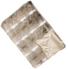 Natural Faux Fur Throw White Stripe