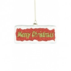 Merry Christmas Sign Red 14x6cm
