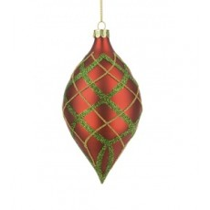 Glass Tashika Finial Green/Red 13cm