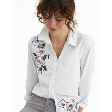Joules Laurel Long Line Embroidered Shirt Pgreen Stripe