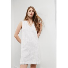 Great Plains Betsy Broidery V Neck Shift Dress White