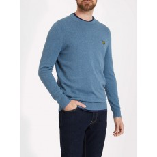 Lyle & Scott Cotton Merino Crew Jumper Mist Blue Marl