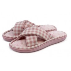 Totes Jersey & Gingham Cross Front Slipper