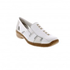 Rieker Newark White and Silver Wedged Heel Slip On Shoe