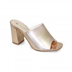 Ariana Rose Gold Heeled Mule