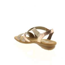 Rieker Dehlistretch Disco Beige and Light Gold Sandal