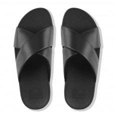 LULU CROSS SLIDE SANDALS - LEATHER