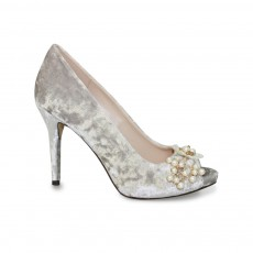Ginny Grey Crushed Velvet Shoe