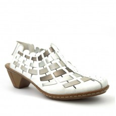 Rieker Newark Bogota Silver, White and Platinum Pattern Open Heel Sandal