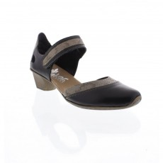 Rieker Cristallino Preston Fino Black and Brown Small Heel Shoe