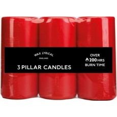 Wax Lyrical Red Pillar Candles Pack 3