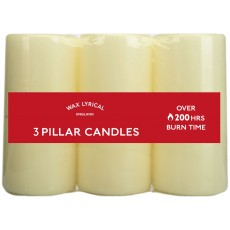 Wax Lyrical Ivory Pillar Candles Pack 3