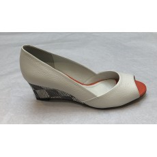 Tyra White P/T Wedge Shoe
