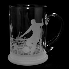 Glass Crystal Pint Tankard Football