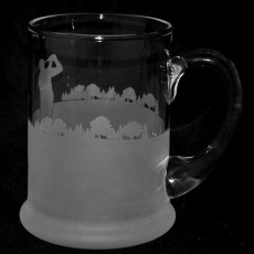 Glass Crystal Pint Tankard Golf