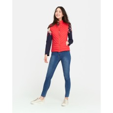 Joules Brindley Chevron Quilted Gilet Redcurrant