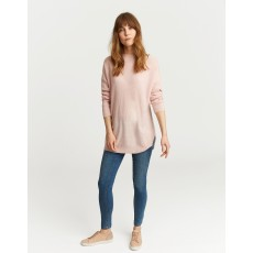 Joules Lilly Boat Neck Sweater With Ribbed Sleeves Pink Marl