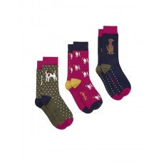 Joules Brllbmv Set Of Three Bamboo Socks 4-8 Dog