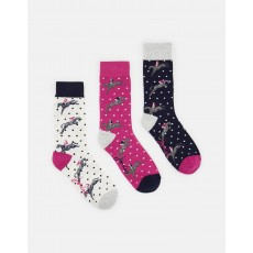 Joules Brllbmv Set Of Three Bamboo Socks 4-8 Horse