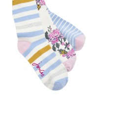 Joules Brllbmv Set Of Three Bamboo Socks 4-8 Light Blue Chinoise Flower