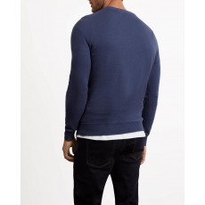Lyle & Scott Crew Neck Cotton Merino Jumper Indigo Blue