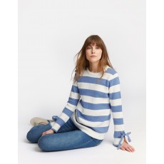 Joules Myanna Tie Sleeve Jumper Light Blue Stripe