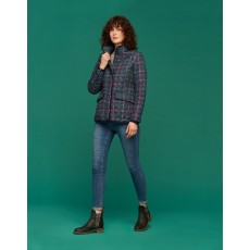 Joules Newdale Print Quilted Coat Navy Clockwatch Check