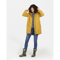 Joules Raine Plain Mid Length Right As Rain Coat Antique Gold