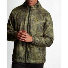 Lyle & Scott Printed Zip Through Hooded Jacket Dark Sage Print