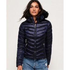 Superdry Hooded Luxe Chevron Fuji Navy