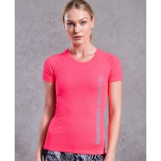 Superdry Core Fitted Mesh Panel Tee Pink