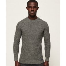 Superdry Academy Textured Crew Dark Charcoal