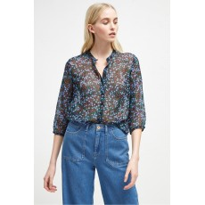 French Connection Aubine Crinkle Collarless Shirt Black/Tivoli Blue