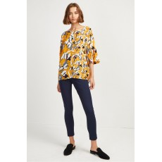 French Connection Aventine Light Pleat Sleeve Top Calluna Yellow Multi