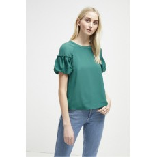 French Connection Crepe Light Puff Sleeve Top Teal Blast
