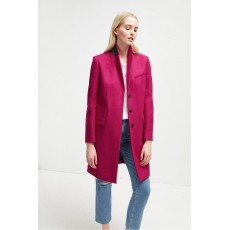 French Connection Platform Felt Smart Coat Bright Baked Cherry