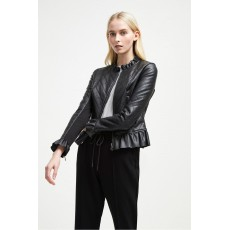 French Connection Brishen PU Frill Edge Biker Jacket Black