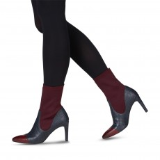Tamaris Heeled Calf Boot Merlot/Navy
