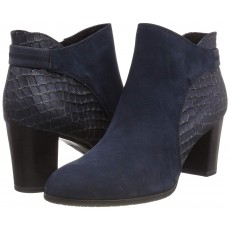 Caprice Navy Nubuc Co. Heeled Boot