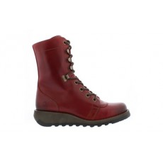 Fly London Site Rug Long Lace Up Boots Red