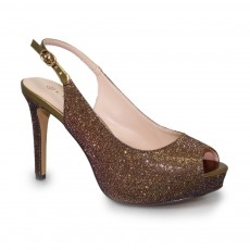 Lunar Jaq Bronze Peep Toe Evening Shoe