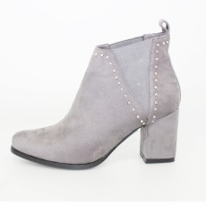 Lunar Grey Black Elasticated Ankle Boot