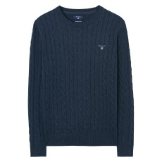 Gant Cotton Cable Crew Dark Blue Melange