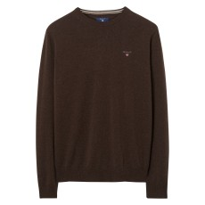 Gant Super Fine Lambswool Crew Brown Melange