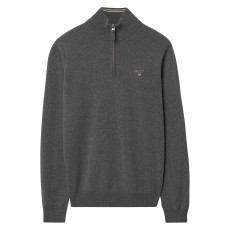 Gant Super Fine Lambswool Zip Charcoal Melange
