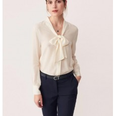 Gant Dobby Bow Blouse Cream